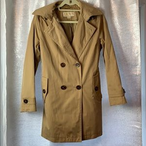 MK L/S trench jacket with hood & belt sz PM